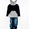 Funky hooded Nautical Top (Navy)
