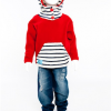 Funky hooded Nautical Top (Red)