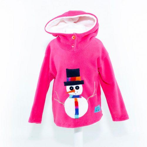 Children's Christmas Pink Snowman Hooded Top