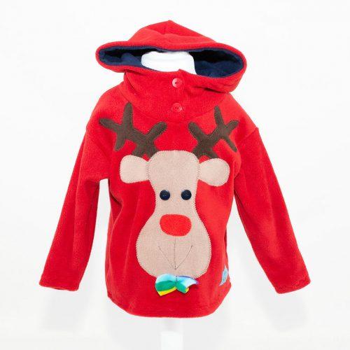 Children's Christmas Red Reindeer Hooded Top