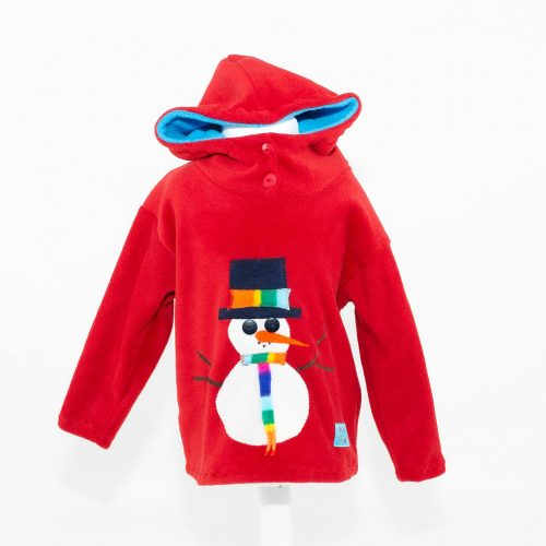 Children's Christmas Red Snowman Hooded Top
