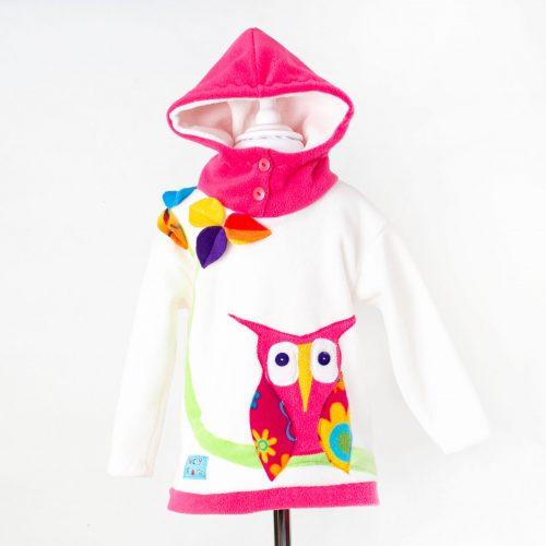 Children's Cream Owl Hooded Top