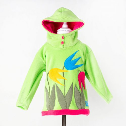 Children's Lime Tulip Hooded Top