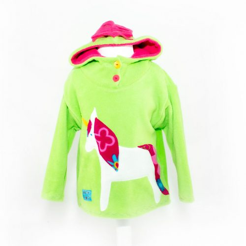 Children's Lime with White Unicorn Hooded Top
