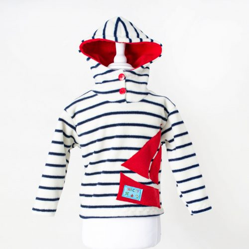 Children's Nautical Red Hooded Top