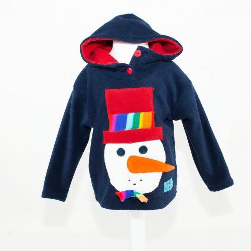 Children's Navy Snowman Head Hooded Top