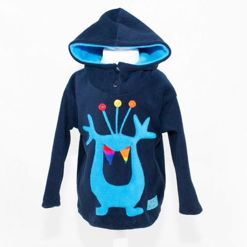 Children's Navy with Turquoise Alien Hooded Top