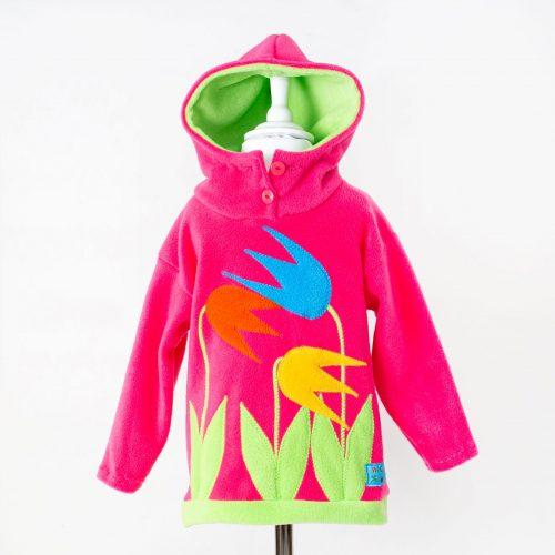 Children's Pink Tulip Hooded Top