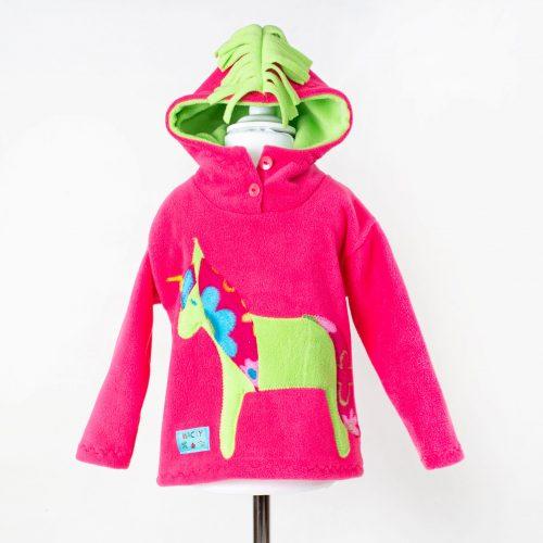 Children's Pink Unicorn Hooded Top