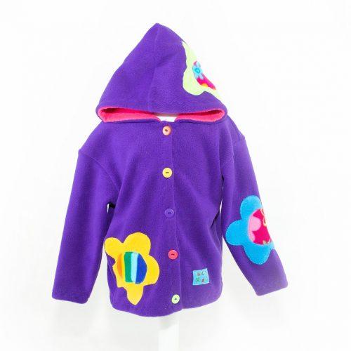 Children's Purple Flowered Hooded Jacket