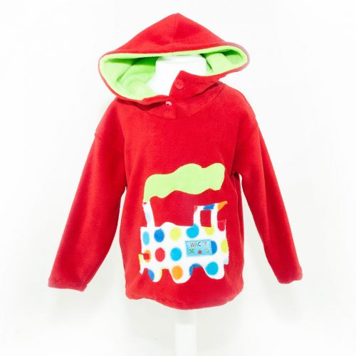 Children's Red Train Hooded Top