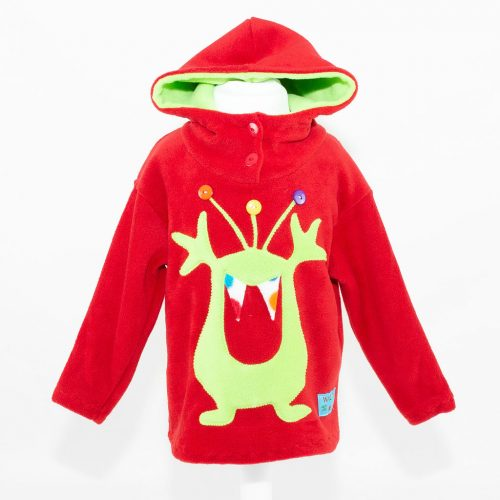 Children's Red with Lime Alien Hooded Top