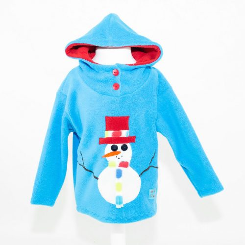 Turquoise Children's Snowman Hooded Top