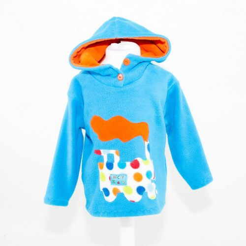 Turquoise Train Children's Hooded Top